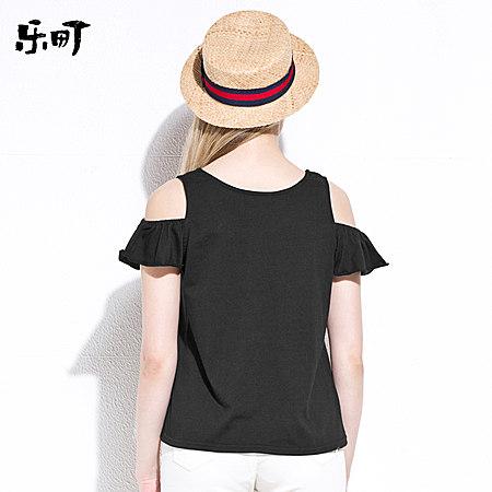 夏季爱心贴布上衣露肩圆领短袖T恤女
