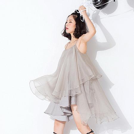 原创仙女范不规则大摆蓬裙真丝连衣裙