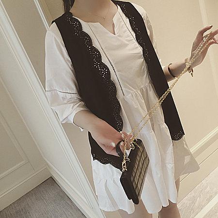 韓國鏤空馬甲+鏤空純色棉麻連衣裙夏女套裙裝