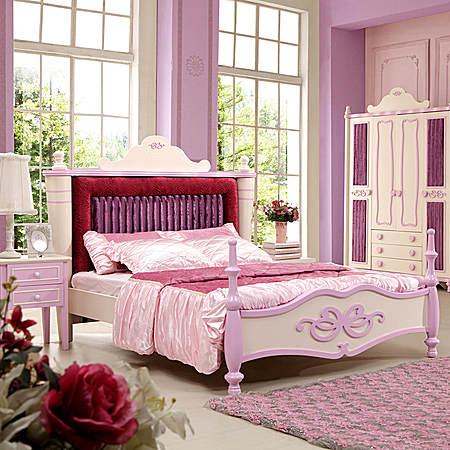 粉色绒布软靠 儿童床女孩 儿童家具公主床