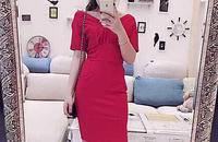 蝴蝶结短袖性感V领露背修身开叉包臀连衣裙