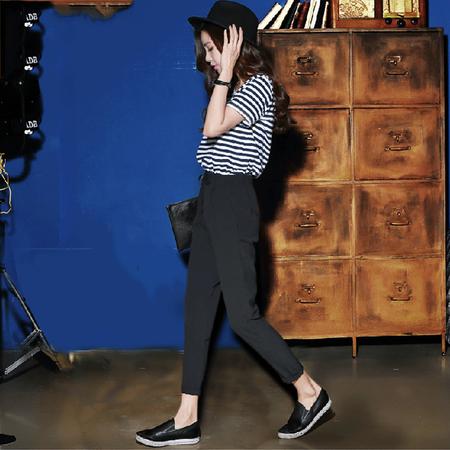 韩都衣舍夏装新款条纹拼接小脚连体长裤
