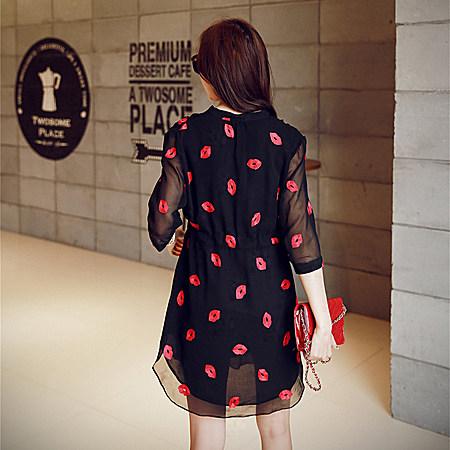 红唇雪纺裙 2017春装新款裙子