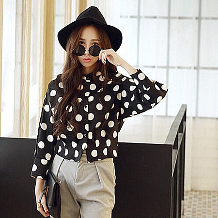 新款韩版衬衫修身正反两穿的波点衬衫