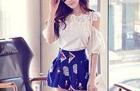 女 短褲 夏 高腰新款女裝顯瘦印花女士短褲夏季