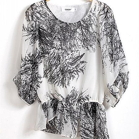 雪紡衫日系大碼中袖打底衫中長款印花寬松上衣