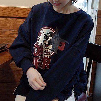 韩国女装冬装新款韩版开叉卡通猫加绒宽松卫衣