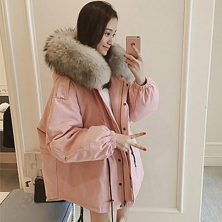 韩版女装中长款棉服