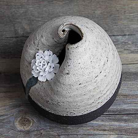 日式粗陶花瓶 纯手工陶瓷花瓶花插