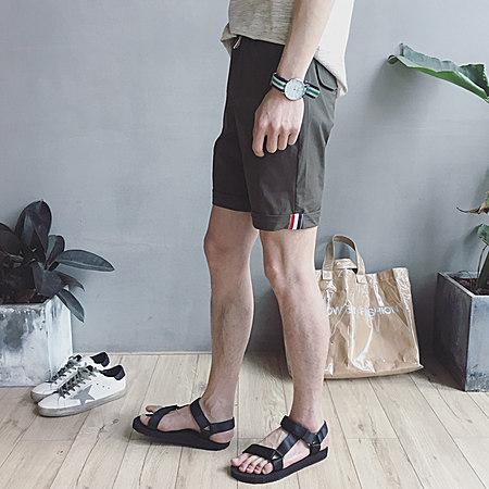 纯色织带五分裤