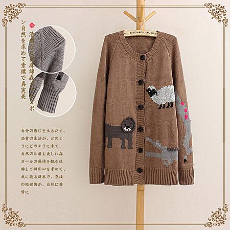 日系森女系卡通动物圆领毛衣针织开衫