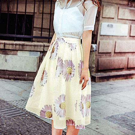 因由2017欧根纱高腰半身裙