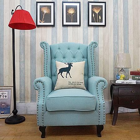 老虎椅美式乡村皮布艺沙发组合复古单人沙发椅