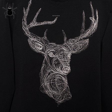 个性银线绣花鹿头卫衣外套