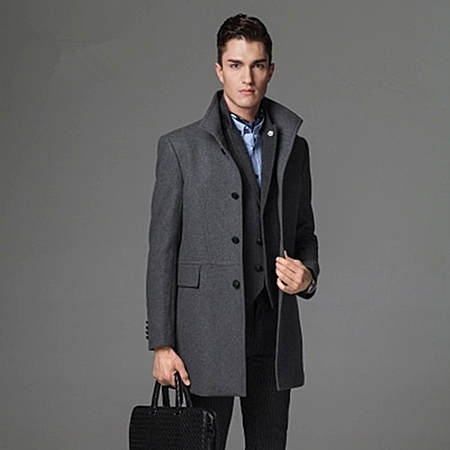 秋冬新款男士毛呢大衣中长款