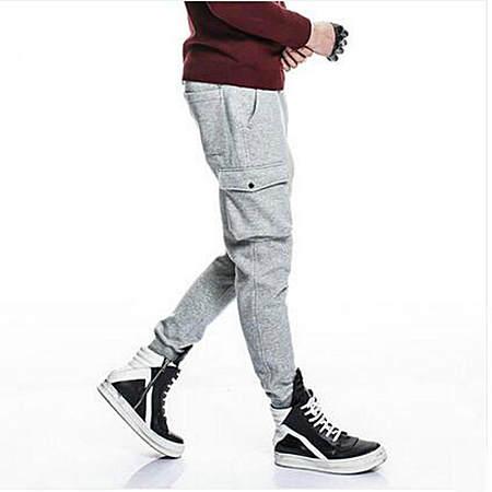 修身加绒加厚大口袋休闲裤