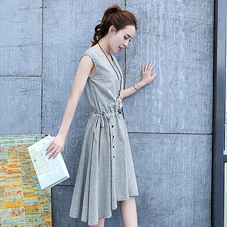 无袖圆领棉麻连衣裙