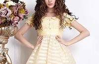 欧根纱娃娃领显瘦中长款A字蓬蓬裙