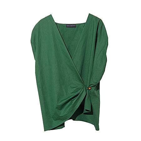 褶皱袖V领衬衫