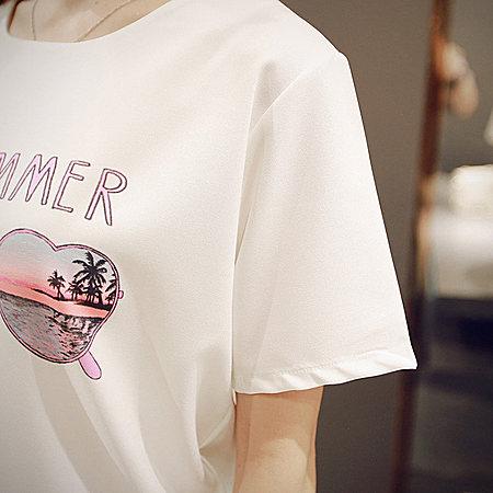 韩版圆领字母印花短袖百搭T恤