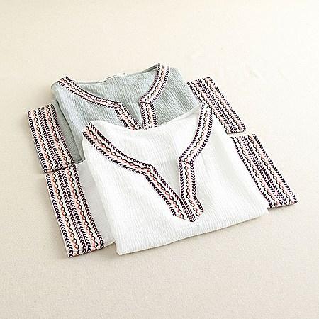 V领棉麻T恤