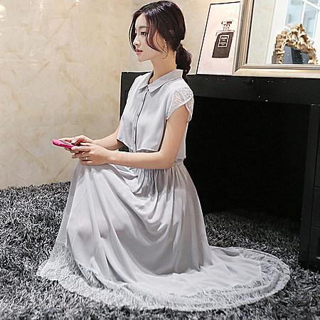 雪纺拼接蕾丝连衣裙