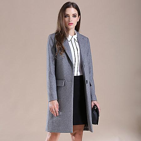 简约纯色羊毛呢大衣