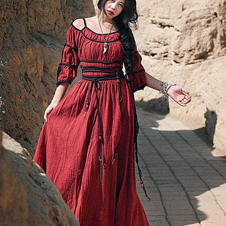 亚麻复古高腰连衣裙