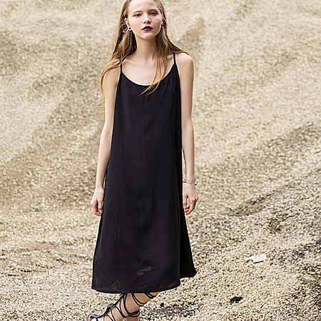 纯色修身显瘦棉麻混纺气质吊带裙