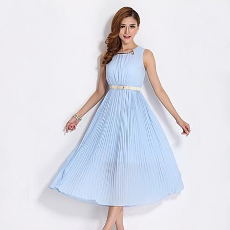修身显瘦波西米亚修身显瘦无袖蓬蓬连衣裙夏季