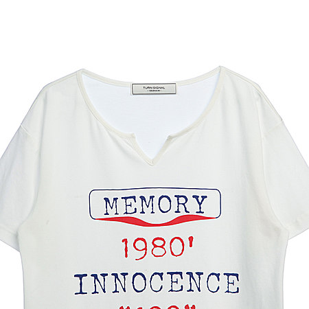 女装修身显瘦V领字母印花短袖T恤