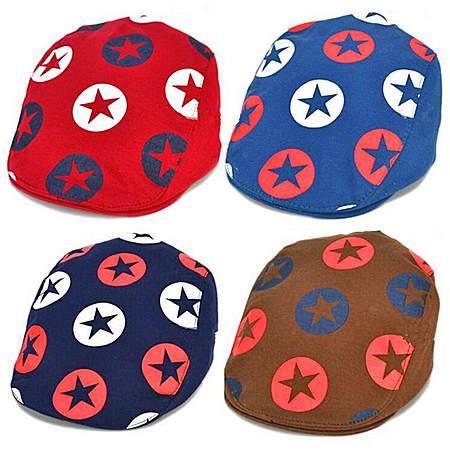 五角星儿童帽子贝雷帽春夏韩版小孩帽宝宝鸭舌帽