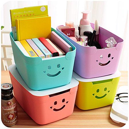 可爱有盖塑料书本收纳盒 小号玩具零食整理储物
