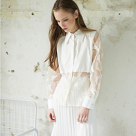 单品|纯色印花透视拼接蕾丝衬衣