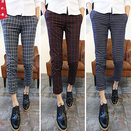 夏季韩版男士修身小脚裤男装英伦格子筒9分裤