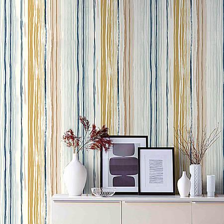 现代简约彩色条纹墙纸