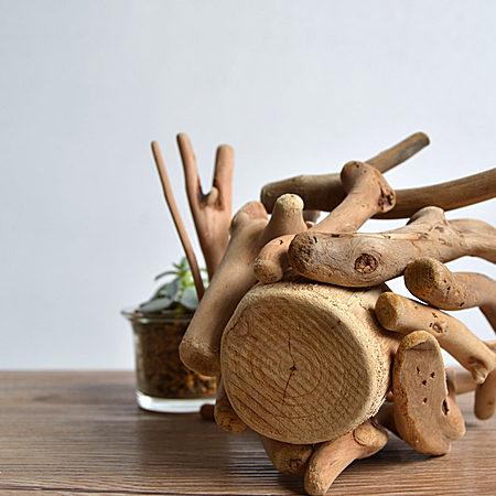 木质花盆摆件