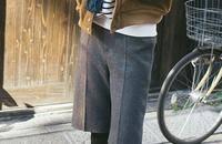 日系毛边高腰羊毛呢五分裤