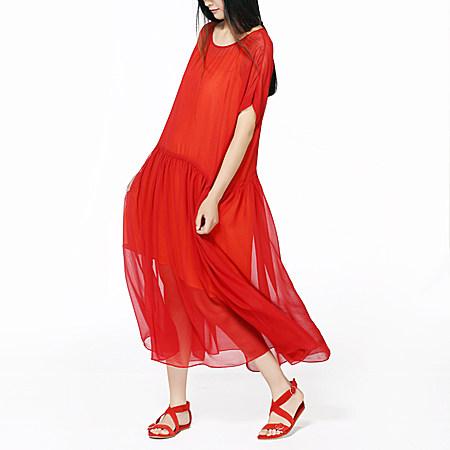 红色真丝宽松仙气质连衣裙