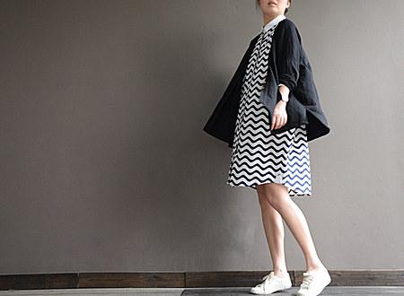 水波纹宽松棉质衬衫裙