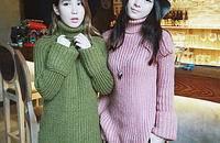 高领毛衣女 秋冬新款 韩版粗线宽松套头针织衫