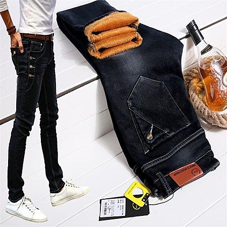 牛仔裤男修身型韩版弹力显瘦小脚裤加绒加厚长裤