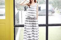 夏裝新款條紋休閑寬松百搭打底裙連衣裙修身長裙
