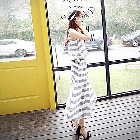 夏装新款条纹休闲宽松百搭打底裙连衣裙修身长裙
