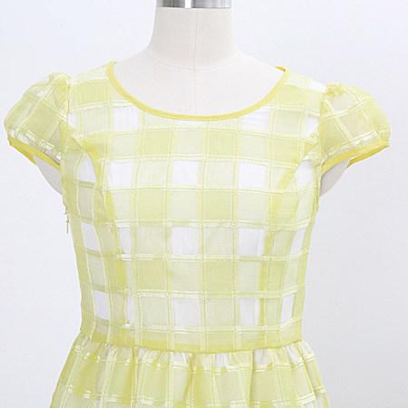 夏装新款圆领格子欧根纱修身短袖夏季淑女连衣裙