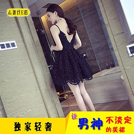 韩版女装秋蕾丝连衣裙 露背吊带裙镂空公主裙