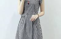 夏装女装新款V领小格纹荷叶边显瘦连衣裙