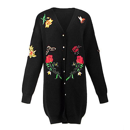 v领花朵刺绣针织衫