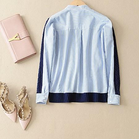 条纹拼接针织衫+百褶半身裙套装