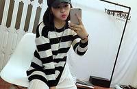 中长款宽松条纹针织衫韩版显瘦套头衣女
